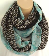 Oversized Aztec Print Circle Loop Infinity Scarf Snood Black, White & Turqouise