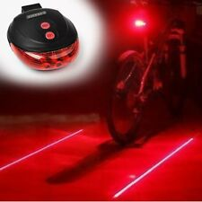 Bicycle Bike Red Laser Beam Cycling 5 LED Rear Lights Safety Tail Lamp + Battery