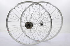 PAIR 700c WHEELS DUAL WALL WHITE 622-19 SHIMANO HUB 7 SPD HYBRID TREKKING BIKE