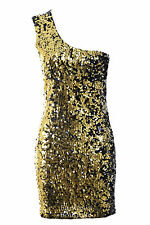 Ladies One Shoulder Round Sequin Shiny Silver Plain Back Party Womens Dress 8-14