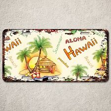 LP0169 Old Vintage Aloha Hawaii Beach Sign Auto License Plate Home Gift Decor