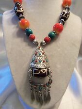 FUNKY COOL Design ULTRA CHUNKY Multi-Color TRIBAL Silver Pendant Necklace 13EN02
