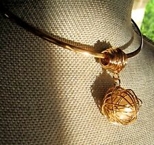 ~ Stunning MODERN  Large Pearl Cabochon Choker Pendant NECKLACE Gold CoLLar