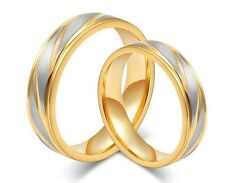 Couple Titanium Steel Rings Set Clear Swarovski ring His And Her Wedding Bands