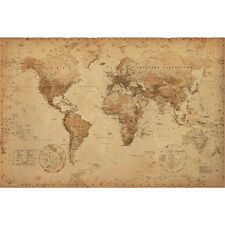 Antique World Map Maxi Poster - Old Parchment Style New