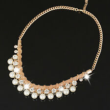 Zara Design Faux Pearl & Clear Crystal Chain Necklace  Statement Choker Gold