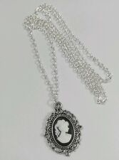 "Gothic Victorian Lady Portrait Black White Cameo Charm Pendant Long 30"" Necklace"