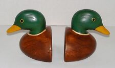 Carved Solid Wood Heavy-Weighted Mallard Duck Decoy Head/Neck Bookend Pair