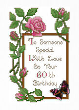 60th BIRTHDAY ROSES - CROSS STITCH CARD KIT