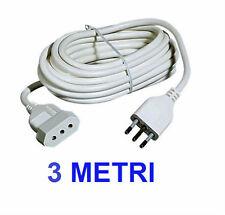 Prolunga elettrica 220V 3m - 10A - Spina 2P+T Italiana cavo estensione 3 metri