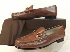 NIB GUCCI OLD MAUVE 1953 PATENT TEXTURE LEATHER GOLD HORSEBIT LOAFERS 39 9 $575