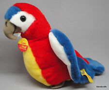 Steiff Lora Parrot Macaw Colorful Plush Bird 30cm 12in ID Button Tags 1987 -88