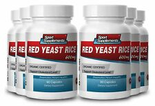 RED YEAST RICE 600mg. ORGANIC CERTIFIED. Supports Cholesterol Level (6 Bottles)