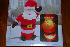 NEW 4 Foot Inflatable Light Up Sitting Santa Yard Decoration