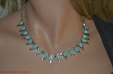 Lucky Brand Semi Precious Accents Turquoise Stones Spikey Fashion Necklace $45