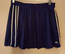 ADIDAS Womans Athletic Skirt Size 10 Navy Blue Pleated Mini Tennis Skirt