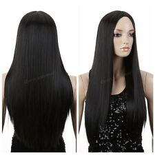 Women Ladies Cosplay Party Long Straight NO Bangs Natural Black Hair Wig / Wigs