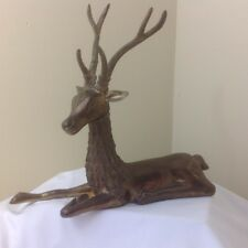 Vintage Heavy  Brass Reindeer Stag Christmas Figure Ornament