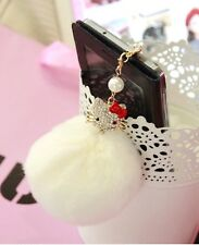 Hello Kitty & Rabbit Fur Ball 3.5mm Anti-Dust Ear Cap Plug For All Smart Phone