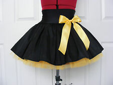 NEW HANDMADE GIRLS BLACK FLO GOLD TUTU MINI SKIRT IRISH DANCE SCHOOL 10 - 12 YRS