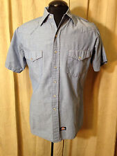 Mens Dickies Western Shirt M Solid Blue Short Sleeve cotton/polyester Rockabilly