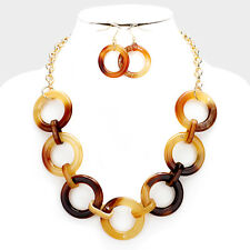 Brown Celluloid Hoop Chain Necklace Earring Women Gold Tone Fashion Jewelry Set
