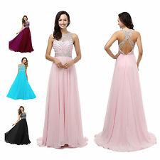 Women's Long Dress Chiffon Evening Party Formal Bridesmaid Prom Ball Gowns Dress