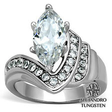 Women's Ring Wedding 4.5 Ct Marquise Cut Stainless Steel Design Size 10