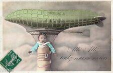 BL211 Carte Photo vintage card RPPC Enfant fantaisie ballon dirigeable bébé
