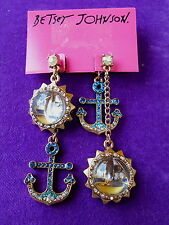Betsey Johnson Authentic NWT Gold-Tone Anchor Sailboat Bauble Mismatch Earrings