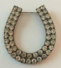 Lucky Stars Good Luck Charm Western Cowboy Horseshoe Brooch Pin Clear Rhinestone