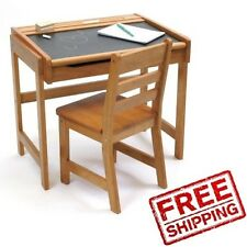 Kids Desk Set Chair Wood Table Chalkboard Home Study Storage School Furniture