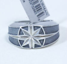 New David Yurman Men's Small North Star Signet Ring Sterling Silver Size 10 $395
