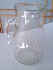 ITALY VINTAGE CLEAR GLASS WATER JUICE OPEN HANDLE Grooved PITCHER