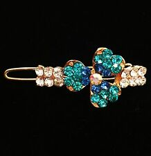USA SELLER Hair Clip Hairpin Rhinestone Crystal Fashion Vintage Flower Blue Q6