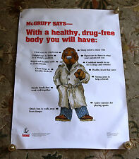 Very Rare McGruff Says 1992 Take a Bite Out of Crime Vintage Anti Drug Poster