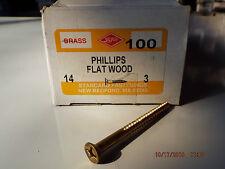 Brass Phillips Head Flat Wood Screws #14 x 3