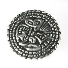 New Asgard Pewter Viking Small York Saxon Animal Disc Brooch Made in Scotland UK