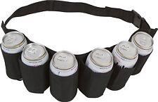 Beer & Soda Can Holster Belt 6 Pack - Black Design