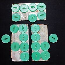 Vintage Set on Card of 7 Large Pale Green Plastic Buttons - 23 mm (7/8 in) dia
