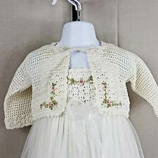 Victoria Kids 6-12mth Dress Layered Sheer Crocheted Jacket Pink Roses Wedding