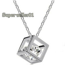 Gold Silver Magic Cube Crystal Necklace Chain Stainless Steel New Charming