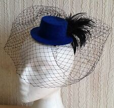 black veiling feather blue mini top hat fascinator millinery wedding ascot party