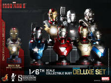 Hot Toys 1/6 Ironman 3 Iron Man Collectible Bust Deluxe Set of 8 LED Sideshow