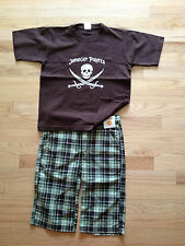 Pirate s/s shirt, size 10-12 (fits size 8) and NWT GAP plaid board short, size 8