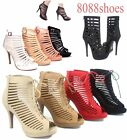 Women's Sexy Fashion Lace Up Zipper Strappy Caged Open Toe High Heel Sandal 5-10