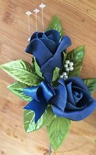 NEW Double Navy Blue  Groom Wedding Buttonhole with diamante's