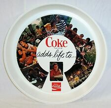 "NEW 1970's COCA COLA PLASTIC ROUND TRAY  COKE "" ADDS LIFE TO... "" NOS"
