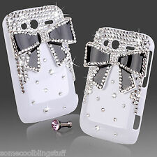 LUXE COOL 3D BLING BLANC NOIR STRASS COQUE PROTECTRICE 4 HTC WILDFIRE S