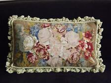 """Chelsea Textiles Floral 100% Wool Hand Made Needlepoint Pillow Cushion 16""""x25"""""""
